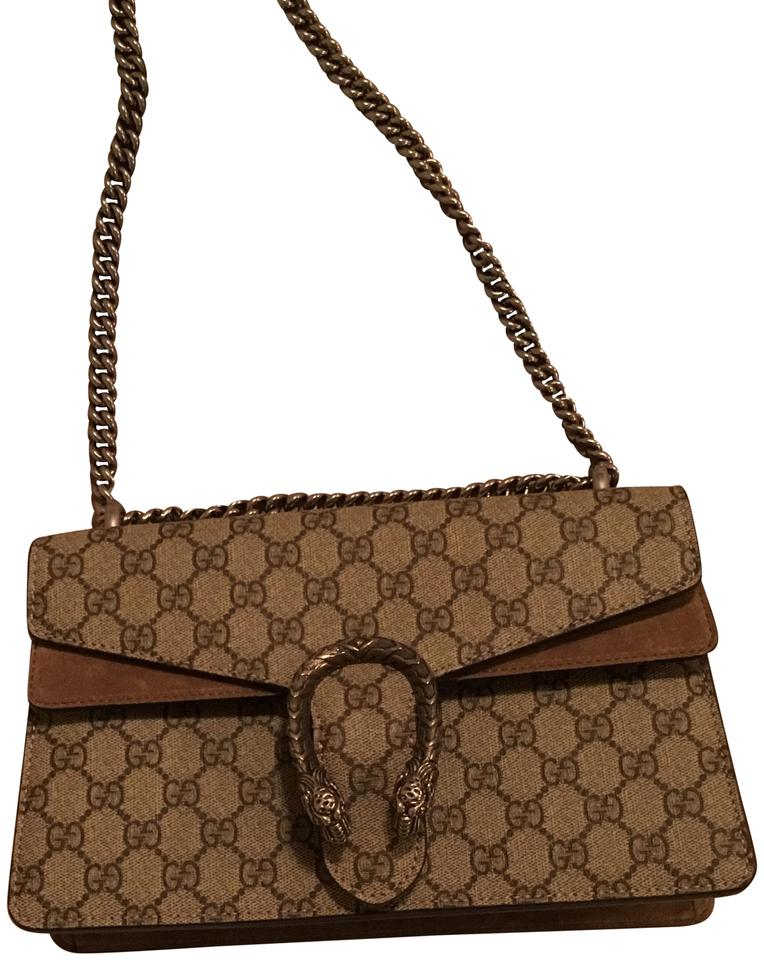 34ae945d412 Gucci Dionysus Small Taupe Coated Canvas and Suede Shoulder Bag ...