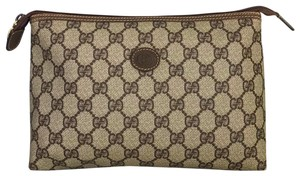 Gucci Gucci Brown GG Web Cosmetic Bag Clutch Vintage Zip Top Coated Canvas