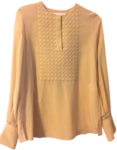 21a227f4f07bf Chloé Silk Cuffs Button Embroidered Classic Top Beige