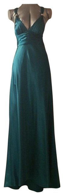 Item - Green Beaded Open Back Gown Long Formal Dress Size 8 (M)
