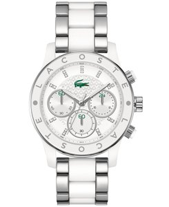Lacoste Stainless White Resin Bracelet Charlotte 2000803 Chronograph Watch