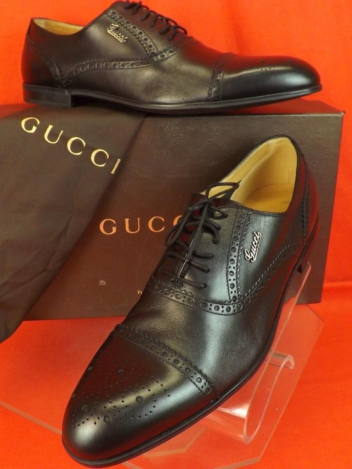 e54ee6c10ab Gucci Black Leather Wingtip Perforated Script Logo Oxfords 12 Us 13 Shoes  Image 0 ...