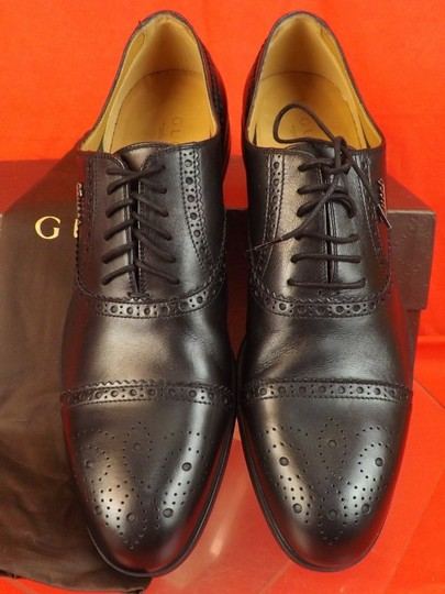 Gucci Black Leather Wingtip Perforated Script Logo Oxfords 12 Us 13 Shoes Image 1