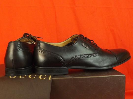 Gucci Black Leather Wingtip Perforated Script Logo Oxfords 12 Us 13 Shoes Image 2