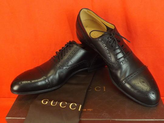 Gucci Black Leather Wingtip Perforated Script Logo Oxfords 12 Us 13 Shoes Image 3