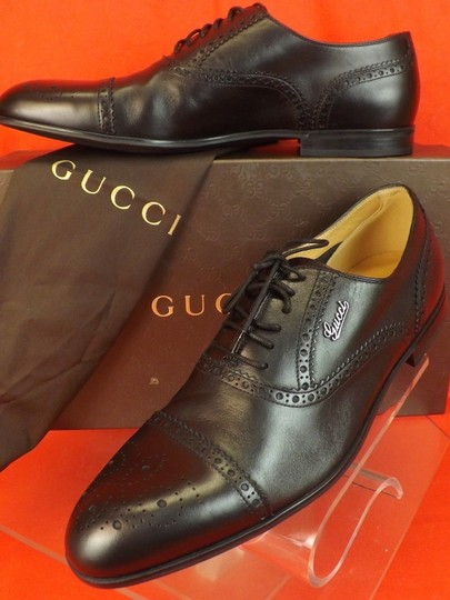 Gucci Black Leather Wingtip Perforated Script Logo Oxfords 12 Us 13 Shoes Image 4