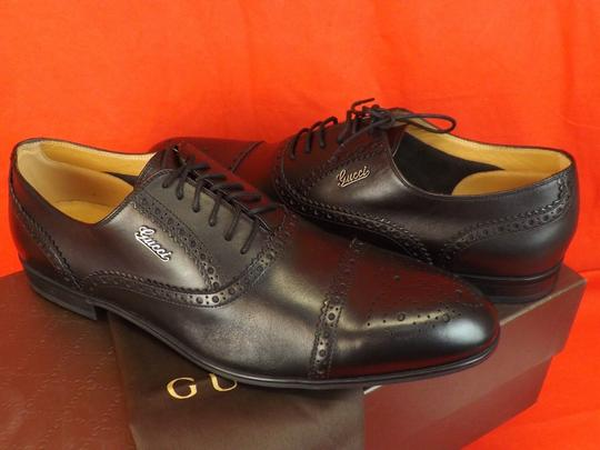 Gucci Black Leather Wingtip Perforated Script Logo Oxfords 12 Us 13 Shoes Image 5