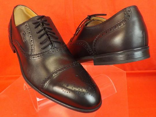 Gucci Black Leather Wingtip Perforated Script Logo Oxfords 12 Us 13 Shoes Image 6