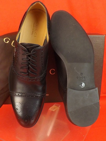 Gucci Black Leather Wingtip Perforated Script Logo Oxfords 12 Us 13 Shoes Image 7