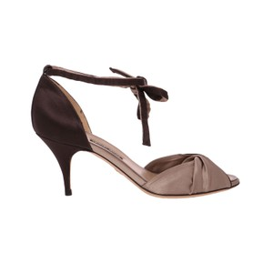 Giorgio Armani Pumps Satin Evening Dress Brown & Beige Sandals