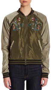 Romeo & Juliet Couture Bomber Embroidered Color-blocking olive Jacket