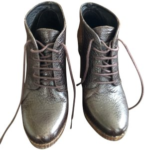 Bocage Leather Buckle Lace Up Brown Boots