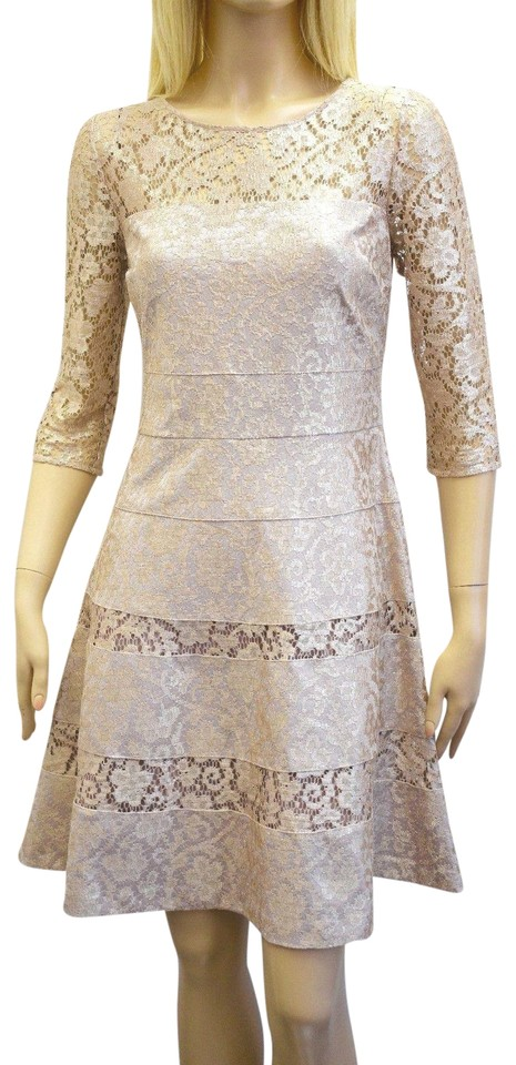 Kay Unger Gold Lace Knee Length Mid-length Cocktail Dress Size 8 (M ...