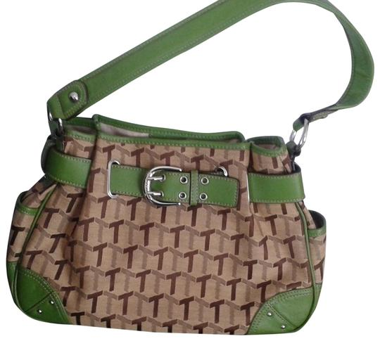 Preload https://img-static.tradesy.com/item/22940144/tignanello-310209-tanbrown-with-green-trimmings-55cotton-45polyester-trim100pvc-satchel-0-1-540-540.jpg