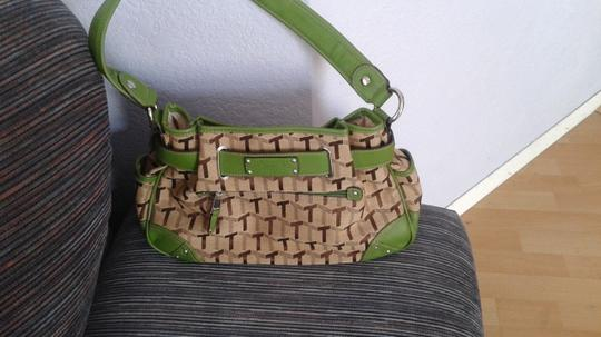 Tignanello Satchel in Tan/brown with green trimmings Image 1