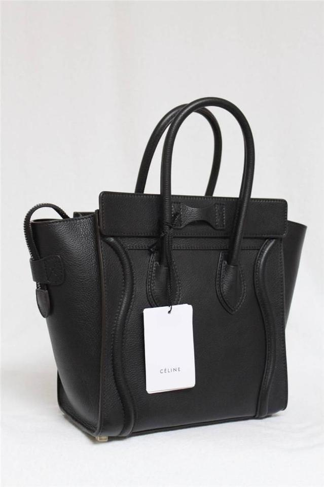 celine black - C��line New Small Micro Luggage Pebbled Leather Black Tote Bag ...