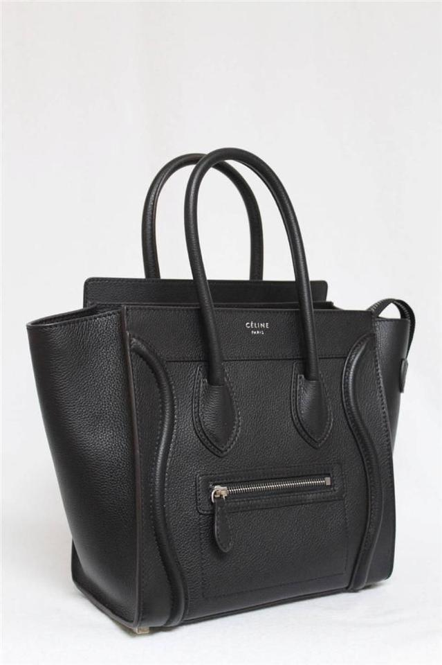 celine pouch - C��line New Small Micro Luggage Pebbled Leather Black Tote Bag ...