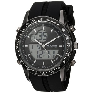 Kenneth Cole 10030989 Men's Black Silicone Band With Black Analog Dial
