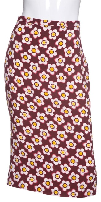 Item - Burgundy Woven Floral Print Zip Closure Skirt Size 10 (M, 31)