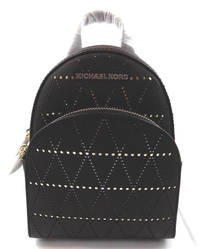 4bfbe0b915e2 Michael Kors New Womens Abbey X Small Perforated Black Leather ...