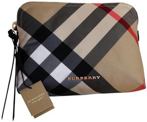Burberry Burberry Women's Large Zip-top Check Pouch In Camel