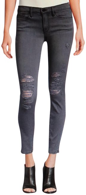 FRAME Grey Distressed Le Color Rip Skinny Jeans Size 24 (0, XS) FRAME Grey Distressed Le Color Rip Skinny Jeans Size 24 (0, XS) Image 1