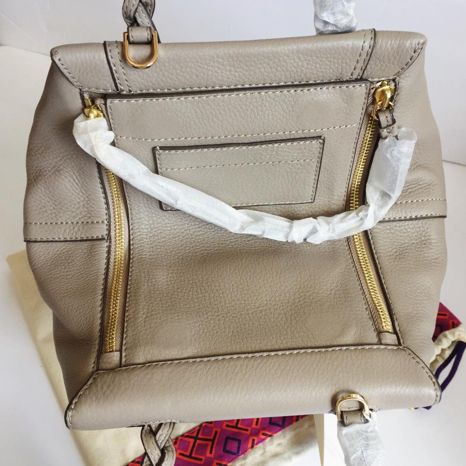 9c3266a9e7b Tory Burch Half-Moon The Peace Embellished Small French Grey Leather Satchel  - Tradesy