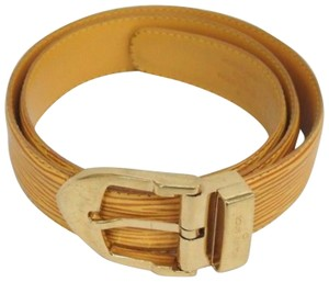 Louis Vuitton Lv vuitton Yellow Epi gold buckle leather Belt