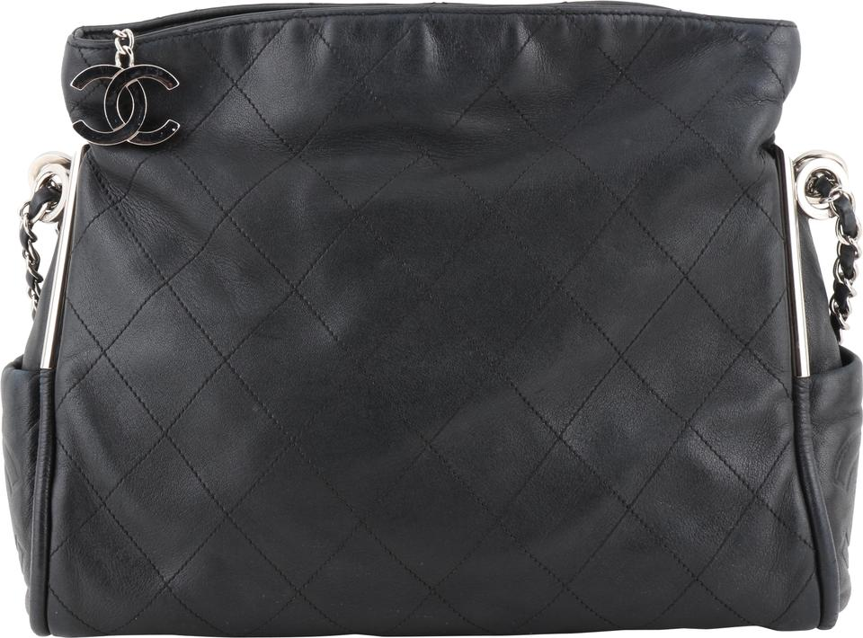 14d0c86fc3fd Chanel Fold Over Black Lambskin Leather Tote - Tradesy