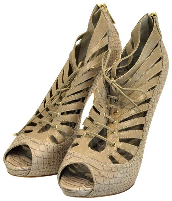Item - Brown Python Peep-toe Ankle Boots/Booties Size EU 36.5 (Approx. US 6.5) Wide (C, D)