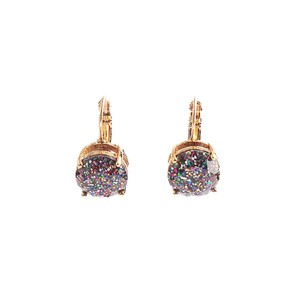 Kate Spade BRAND NEW Kate Spade Glitter Round Leverback Earrings Multi Color Gold