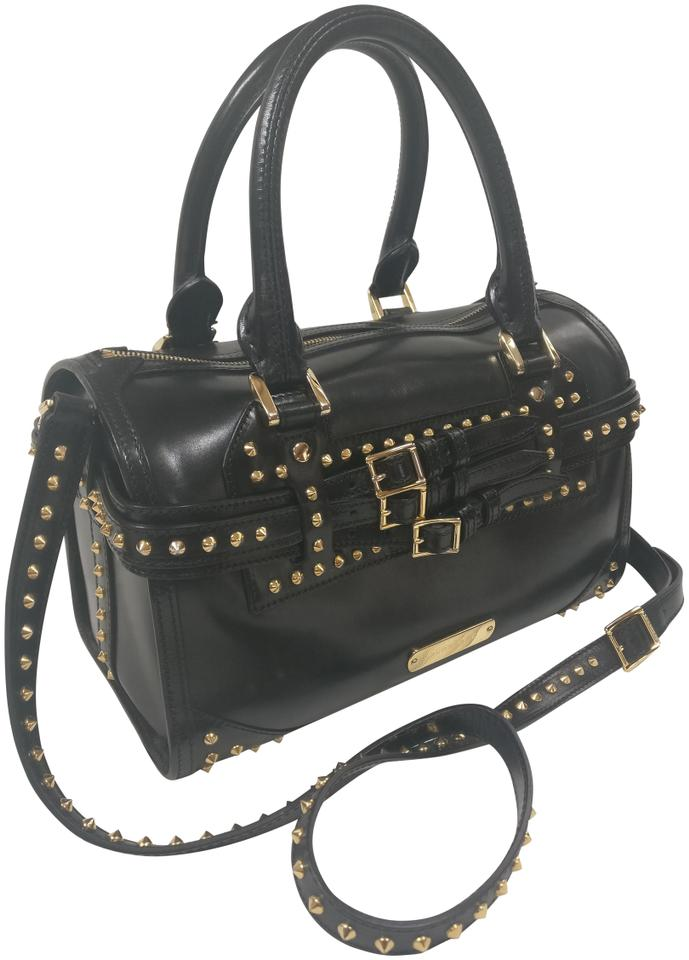 5c752d07923f Burberry Bridle Studded House Check Alchester Bowling Satchel Black Leather  Cross Body Bag