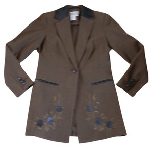 Coldwater Creek Brown w/Black Leather Trim & Appliques Blazer