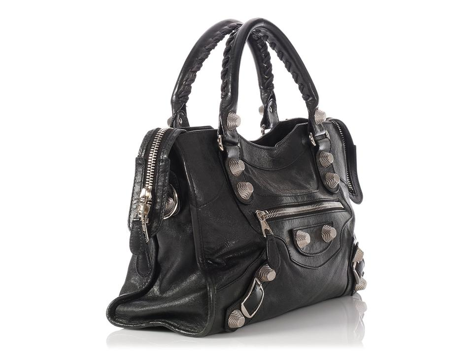 e7b8519d5d Balenciaga 2009 Giant 21 Silver City Agneau Black Lambskin Leather Satchel  - Tradesy