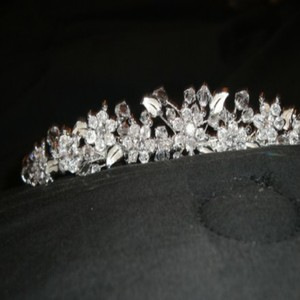 David's Bridal Silver & White Crystal Rhinestone Metal Leaf Tiara