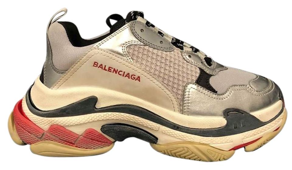 S Grey Balenciaga Metallic Silver Red Triple Trainers Speed Flat MSzGUqVp