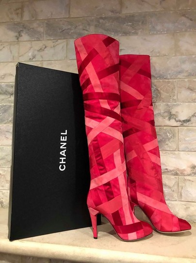 Chanel Patchwork Stiletto Thigh High Logo Suede pink Boots Image 2