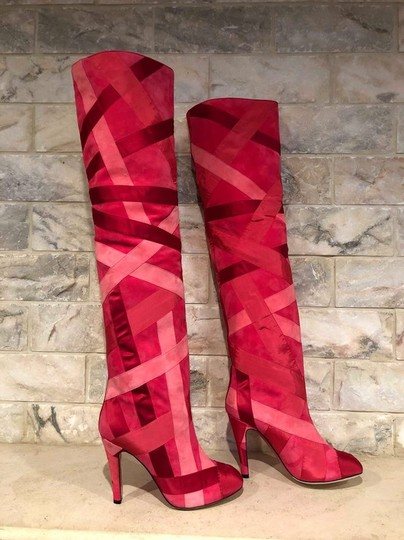 Chanel Patchwork Stiletto Thigh High Logo Suede pink Boots Image 4