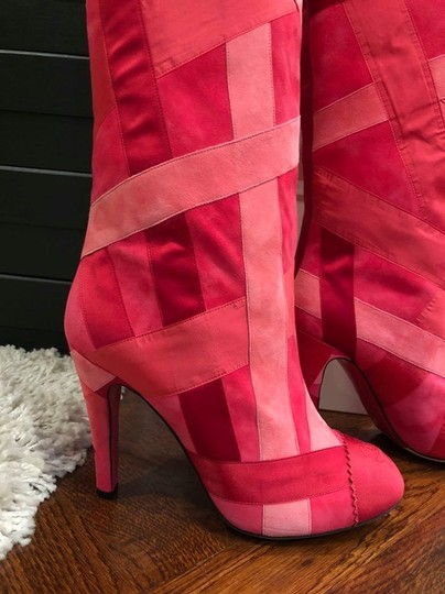 Chanel Patchwork Stiletto Thigh High Logo Suede pink Boots Image 5