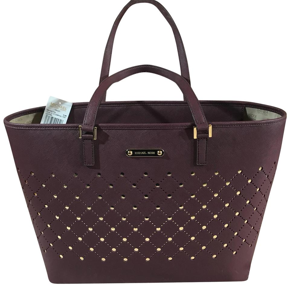 742484459908 Michael Kors Violet Large Carryall Plum Leather Tote - Tradesy