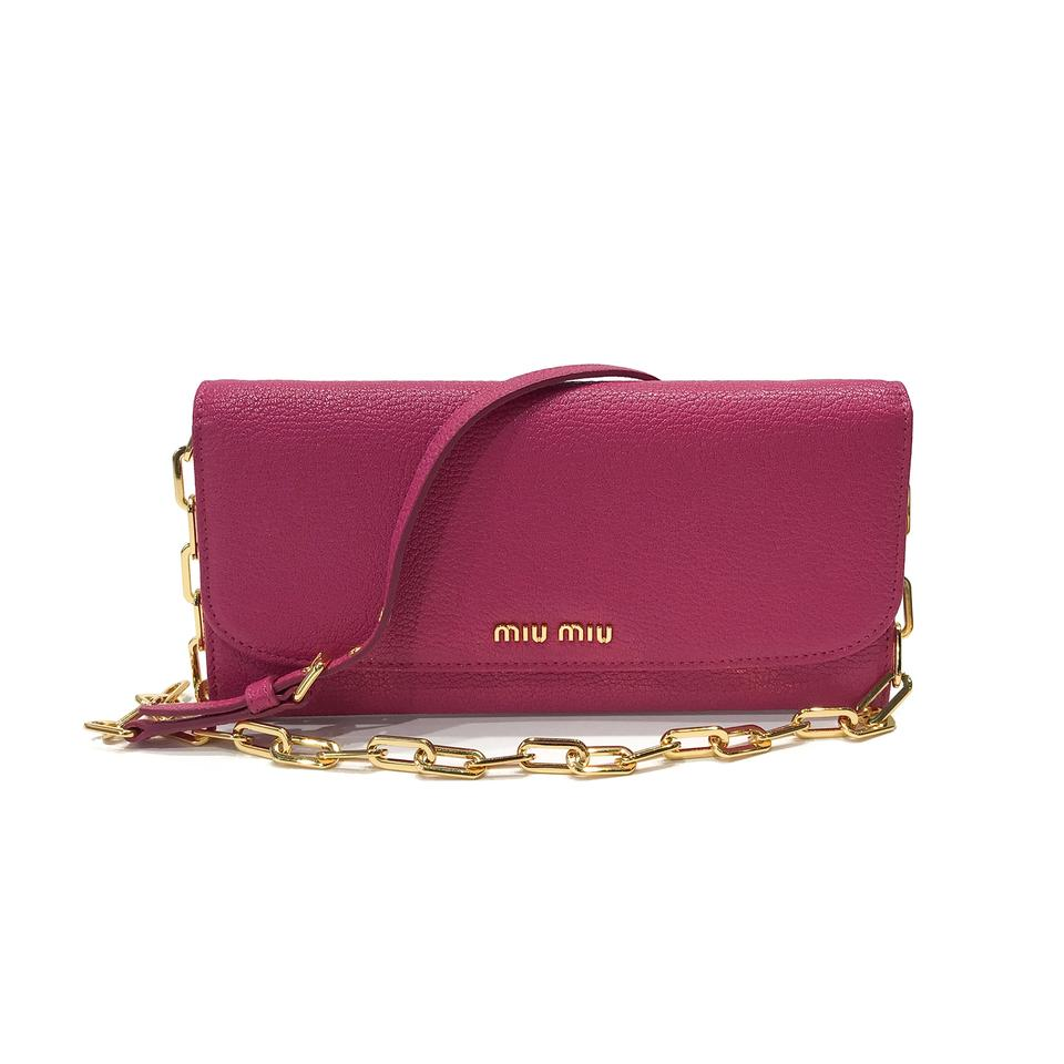 Miu Miu Wallet On Chain Pink Leather Cross Body Bag 976579103e920