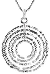 David Yurman David Yurman Diamond Silver Large Willow Necklace Pendant