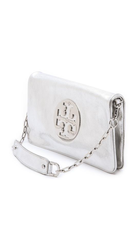 30df6a0126a Tory Burch Oversized Metallic Reva Silver Pebbled Leather Clutch ...