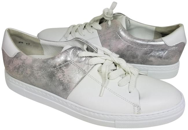 Item - White/ Metallic Gray Women's Lace-up White/ Leather Sneakers Size US 9 Regular (M, B)