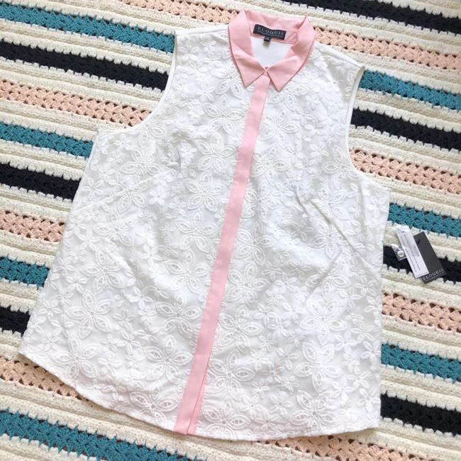 Item - White W Embroidered Lace Sleeveless Pink Collar Blouse Size 16 (XL, Plus 0x)