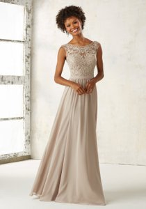Mori Lee Claret Chiffon W/ Embroidered and Beaded Bodice 21522 Formal Bridesmaid/Mob Dress Size 4 (S)