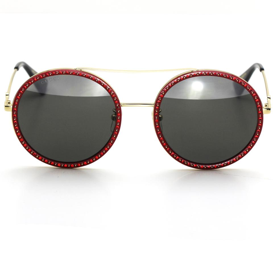 be5bf47fc7d Gucci Brand New Gucci 0061S Round Sunglasses Red and Gold Frame Image 0 ...