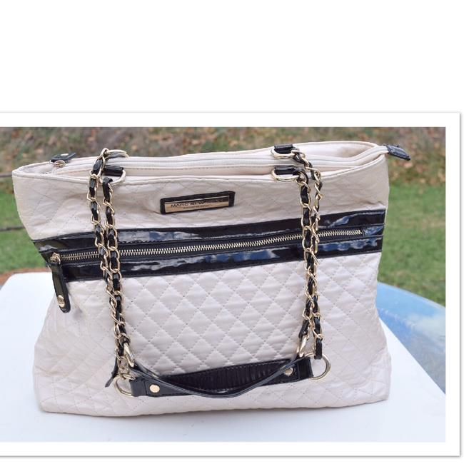 Item - Bag Quilted Cream and Black Tote