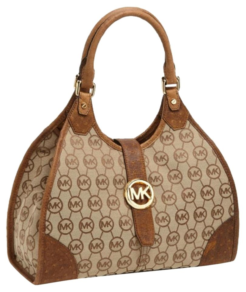 Michael Kors Canvas Distressed Embossed Tan Khaki Shoulder Bag