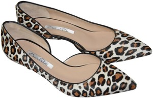 Oscar de la Renta Leopard Animal Print Kitten Heel white, brown Pumps